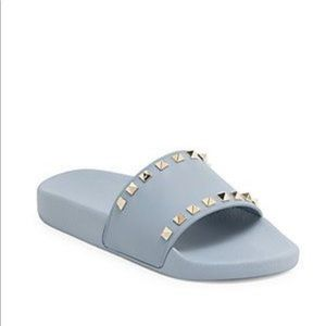VALENTINO ROCKSTUD POOL SLIDE IN BLUE